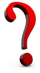 point d'interrogation 3d rouge translucide