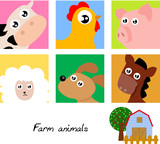 farm animal icon poster