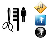 Barbershop pictogram and signs poster