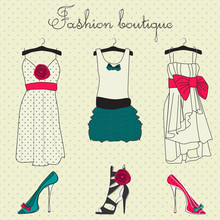 Fashion boutique set, stylized doodles
