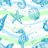 Marine seamless pattern poster