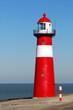 Red lighthouse in Zeeland, Netherlands