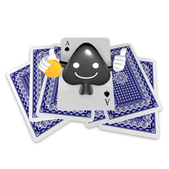 3d pop up playing card suits as spade