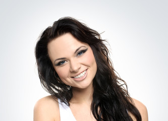 Portrait of a young and healthy brunette Caucasian woman