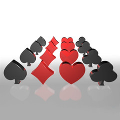 3d playing card suits line up side by side
