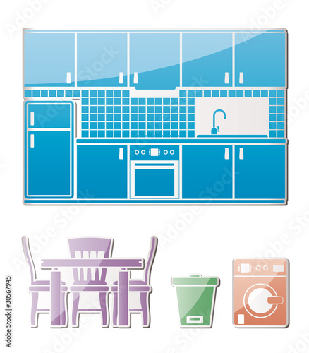 kitchen objects, furniture and equipment - vector illustration