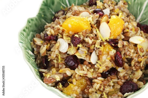 Pilaf with whole grains, nuts, and dried fruit.