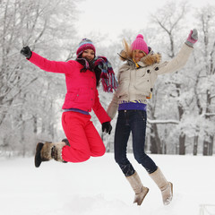 winter girl jump