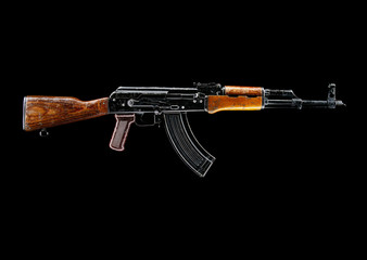 Side view of AK-47 rifle