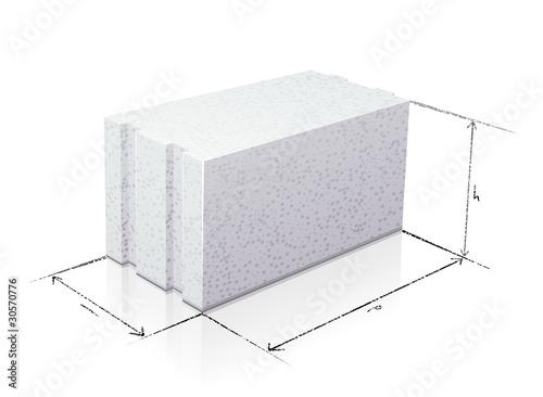 dimensions d 39 un parpaing de b ton cellulaire reflet fichier vectoriel libre de droits sur la. Black Bedroom Furniture Sets. Home Design Ideas