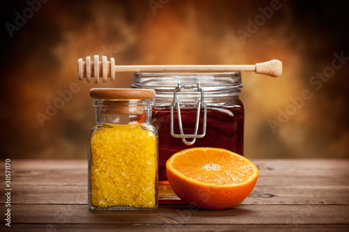 Jar of honey and orange bath salt