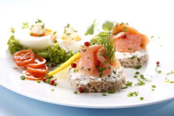 Tasty sandwich with salmon