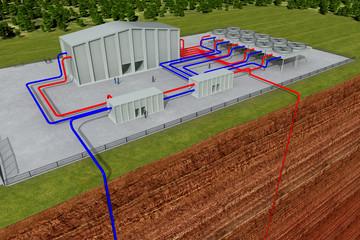 Geothermieanlage mit Schnitt durch die Erde und Tiefenbohrung