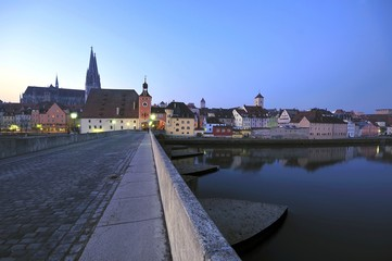 Stone Bridge and Brucktor City Gate in Regensburg