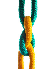 Rope with marine knot on white background