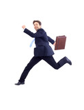 Isolated attractive business man running away from