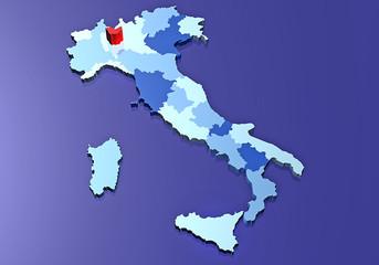 Cartina Italia regioni provincia Milano
