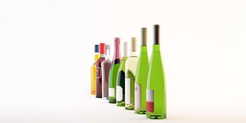 bottiglie di vino illustrazione 3d modificabile