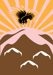 The eagle flies over mountains in sun beams