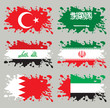 Splash flags set Middle East Asia. Each in separated layer