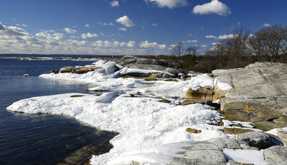 Beautiful spring shore landscape with ice poles