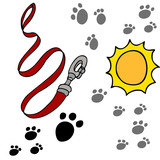 Dog Leash Pawprints poster