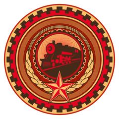 Illustrated retro communistic emblem with decoration.