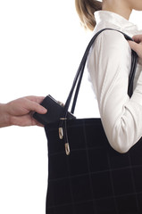 stealing purse from the bag
