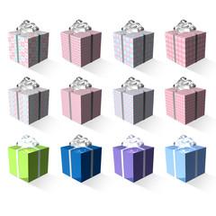 twelve splendid and colorful 3d present box ribboned