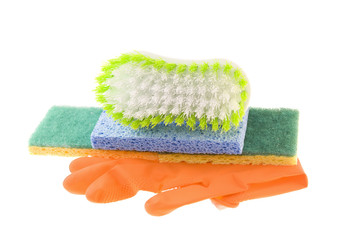 gloves sponges and cleaning brush
