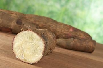 Raw cassava (lat. Manihot esculenta) on wood