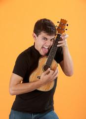Young ukulele player