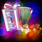 Accordion & color bokeh abstract light background