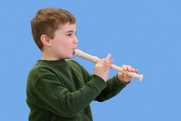 Child Playing His Recorder