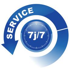 service 7j sur 7 sur vignette fléchée bleue