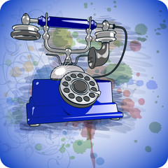 Vector blue vintage telephone & floral ornament