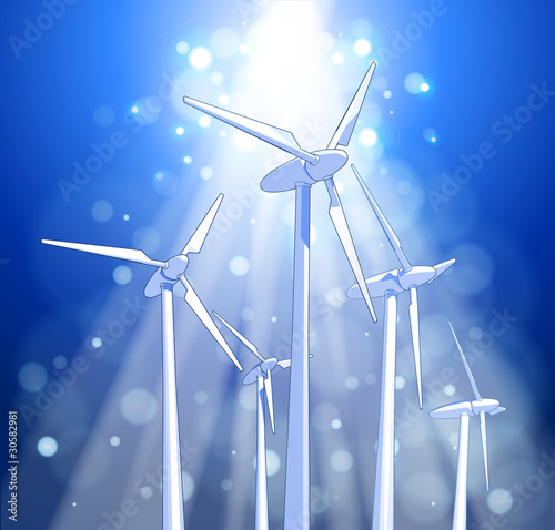 Ecology concept: wind-driven generators, rays of light, blue sky