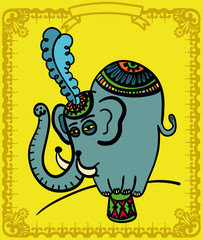 Elephant raised in a podium, with feather in the head
