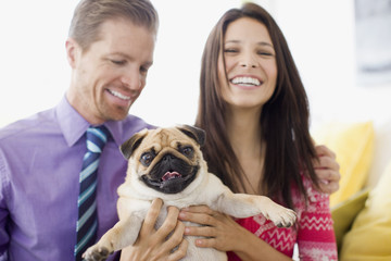 """Smiling couple holding cute, small dog"""