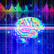 brain, chemical formulas, color digital wave