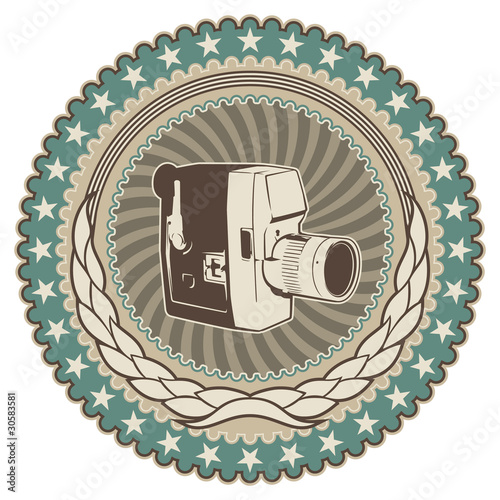 Vintage badge with retro camera.