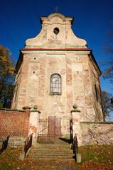 Very old stone church facade