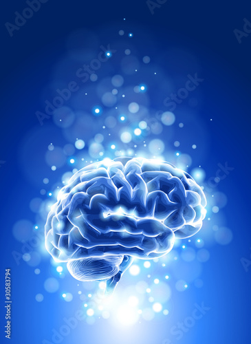 brain & blue bokeh abstract light background. Vector