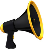 Megaphone black news message. Stylish loudspeaker model