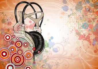 headphones & floral background