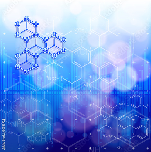Digital wave & chemical formulas - technology blue background