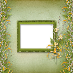 Frame with bunch of willow and narcissus