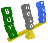 Stock investing scale decision BUY SELL HOLD poster