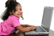 Little Girl in Pink with Laptop