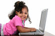 Toddler Girl in Pink with Laptop